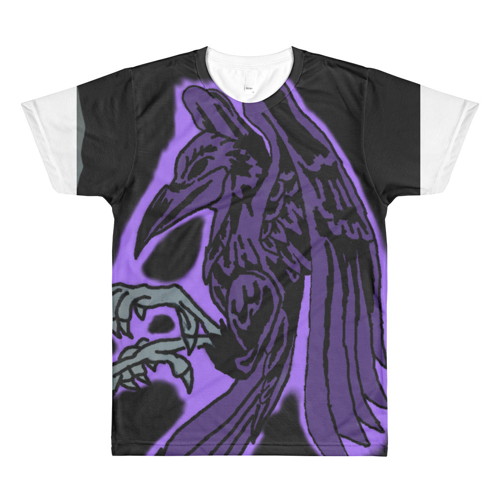 Purple crow logo on back All-Over Printed T-Shirt