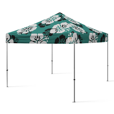 10x10_hibiscus_flower_canopy_teal_white_black