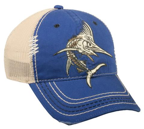 MARLIN FISHING ROYAL/BEIGE SNAPBACK HAT