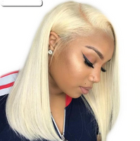 Blonde Brazilian Straight Human Hair lace front wigs