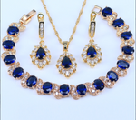 Dubai Gold Color Luxury Party Jewellery Blue Cubic Zirconia Necklace-Earring-Bracelet Set