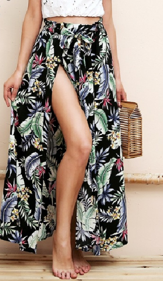 Summer Style High Split Sash Floral Maxi Skirt