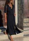 V-Neck Chiffon Vintage Maxi Dress