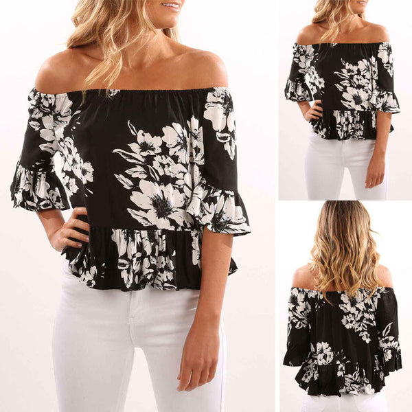 Womens Off Shoulder Short Sleeve Blouse/Top