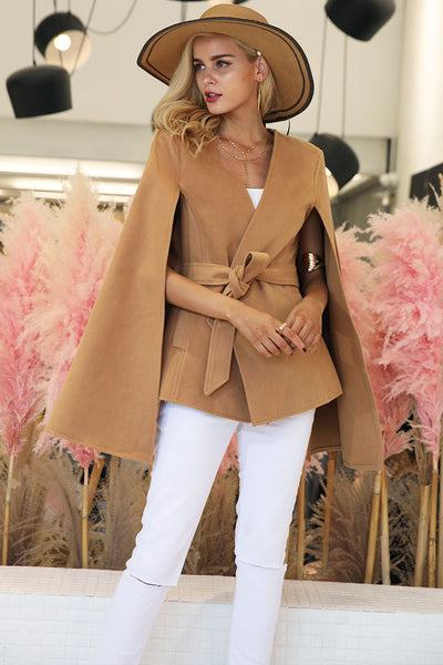 Elegant V Neck Winter Cape Street Wear Cloak Overcoat