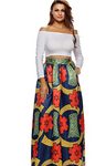 African Floral Print A Line Maxi Long Skirt with Pockets
