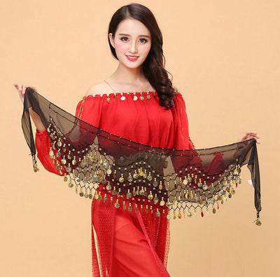 Belly Dance Hip Scarf Wrap With Chiffon Dangling Gold Coins