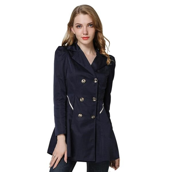 Elegant Double Breasted Button Trench Coat