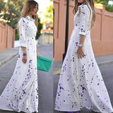 Elegant Summer Boho Party Chiffon Long Sleeve White Dress