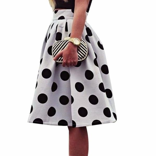 Umbrella Skirt White Black - Polka Dot Retro Puff Skirts