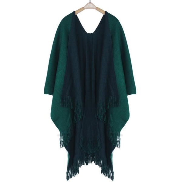 Winter Knitted Cashmere Poncho, Women Coat
