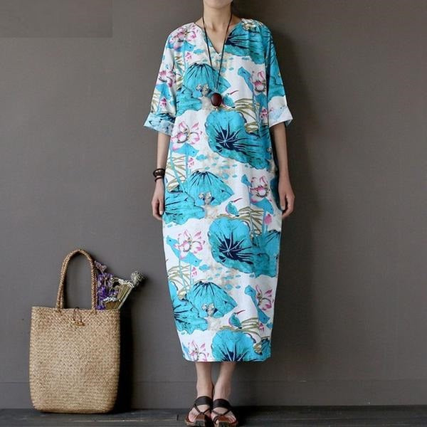 Floral Print 3/4 Sleeves V-Neck Loose Kaftan, Plus Size Only
