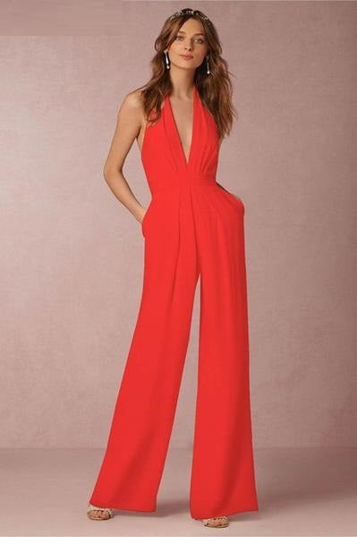 Elegant Deep V-Neck Sleeveless Backless Jumpsuit