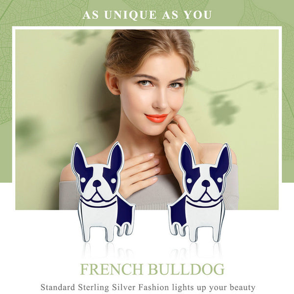 Very Popular Genuine 925 Sterling Silver French Bulldog Small Stud Earrings