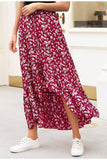 Summer Floral Print Red Boho High Waist Long Maxi Skirt