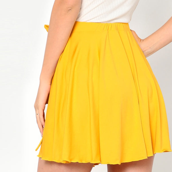 Solid Yellow Self Belted A-Line Mid Waist Mini Skirt