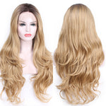 Light Blond Natural Long Wavy Lace Straight Glueless Heat Resistant Front Synthetic Wig