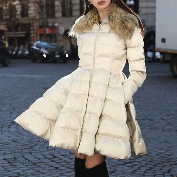 Peplum Satin Zipper Pocket Fur Collar Parka Coat