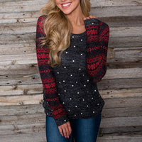 Christmas Women Long Sleeve Snowflake Sweatshirt/ Pullover/Top/Shirt