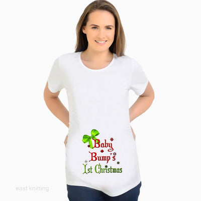 New Fashion: Baby Bump's First Christmas Print Maternity T shirt Casual White Tops