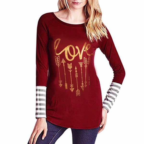 Long Sleeve Splicing Top T-Shirt