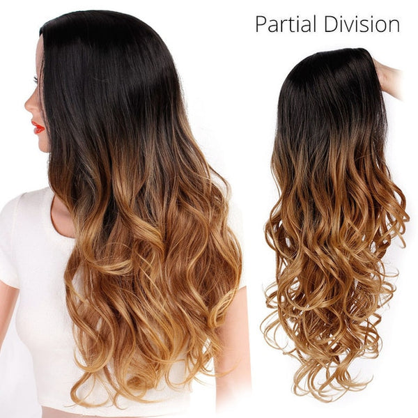 Long Ombre Wavy Cosplay Synthetic Wigs For Black/White Women