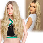 Platinum Blonde Synthetic Glueless Cosplay Hair Long Ombre Wavy Wigs