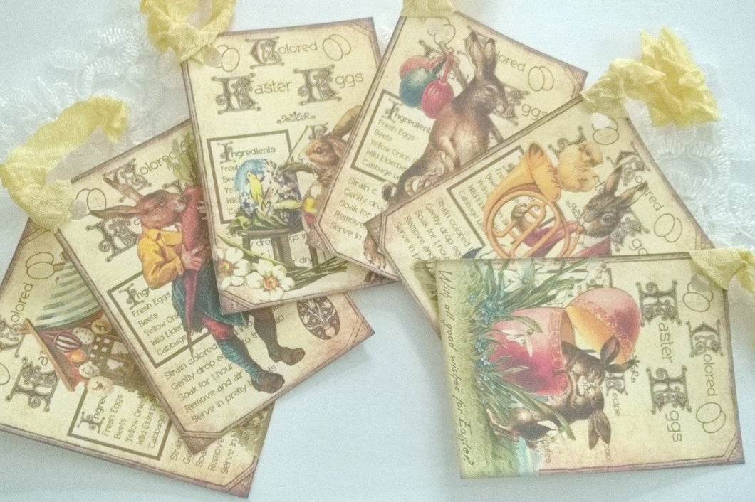 Gift Tag Set - Easter Rabbits- 6 X-Large Tags. Vintage Style. - GiGiBelleBoutiqueNewYork