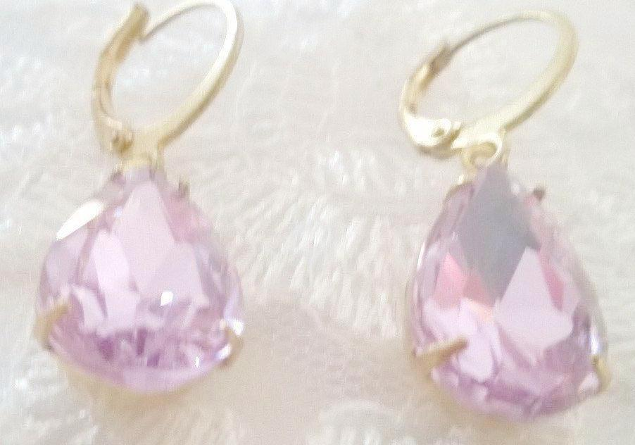 Lilac Purple Rhinestone Drop Earrings. Antique Inspired. Wedding Jewelry. - GiGiBelleBoutiqueNewYork