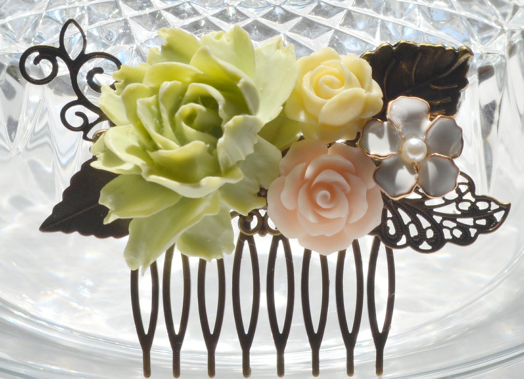 Summertime Lime Green Flower Hair Comb - GiGiBelleBoutiqueNewYork
