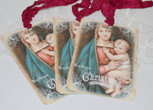 Gift Tag Set - Madonna and Child. Christmas. Religious Image. - GiGiBelleBoutiqueNewYork