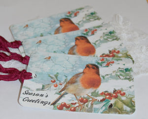 Gift Tags Set - Seasons Greetings Birds. - GiGiBelleBoutiqueNewYork