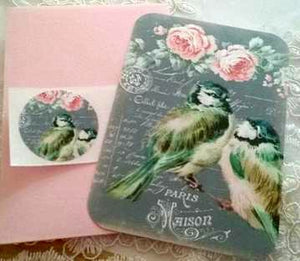 Note Card Set - 4 Large Handmade Shabby Chic Note Card Set. Gift for Bird Lover. Nature Lover. - GiGiBelleBoutiqueNewYork