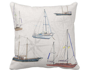 Nautical Pillow Cover. Vintage Sailboats. Hudson River Decor. CLEARANCE - GiGiBelleBoutiqueNewYork