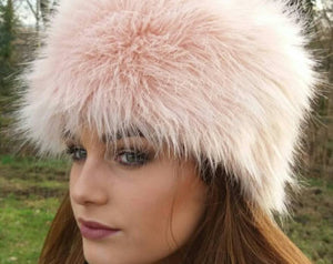 Luxury Faux Fur Hat. Soft Peachy Pink. - GiGiBelleBoutiqueNewYork