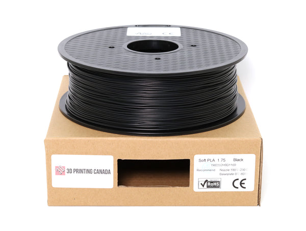 Black - 1.75mm Flexible Soft PLA Filament - 1 kg