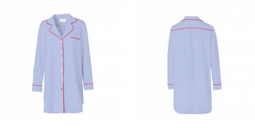 Piu Boyfriend Shirt - Sky Blue Checks