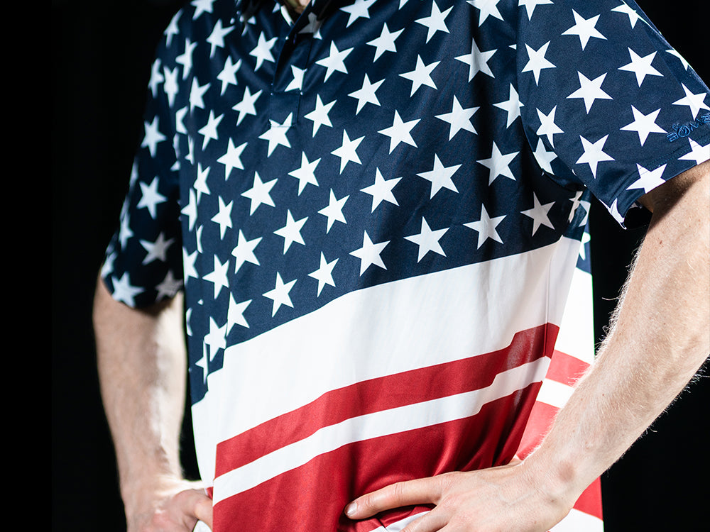 BombTech Golf American Flag Polo Shirt
