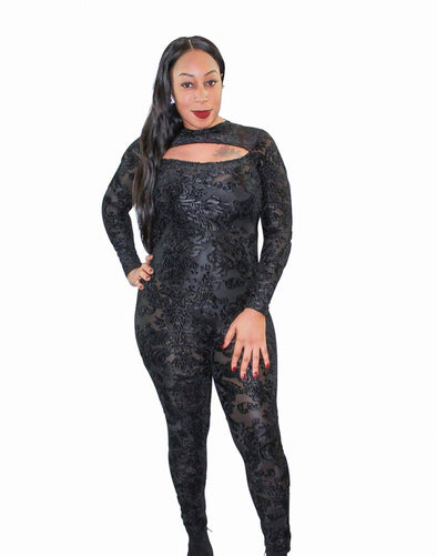 Velvet See Through Jumpsuit - Good Looks Fashion