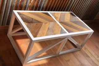 Farmhouse Barnwood Inlay Coffee Table