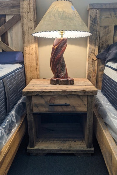 Barnwood Nightstand with Metal Accents