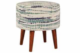 Blue and White Accent Stool