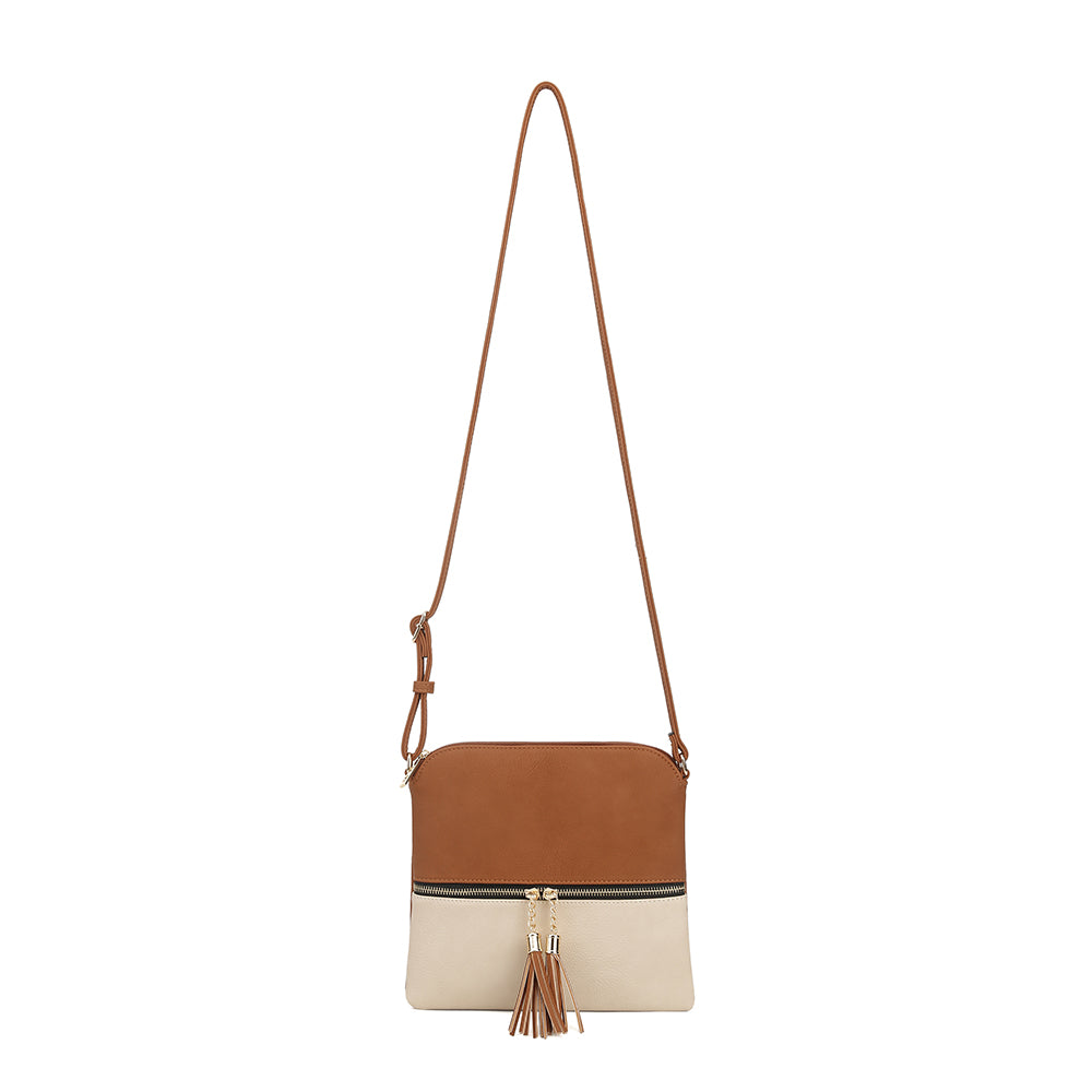 Anna Color Block Tassel Crossbody Bag