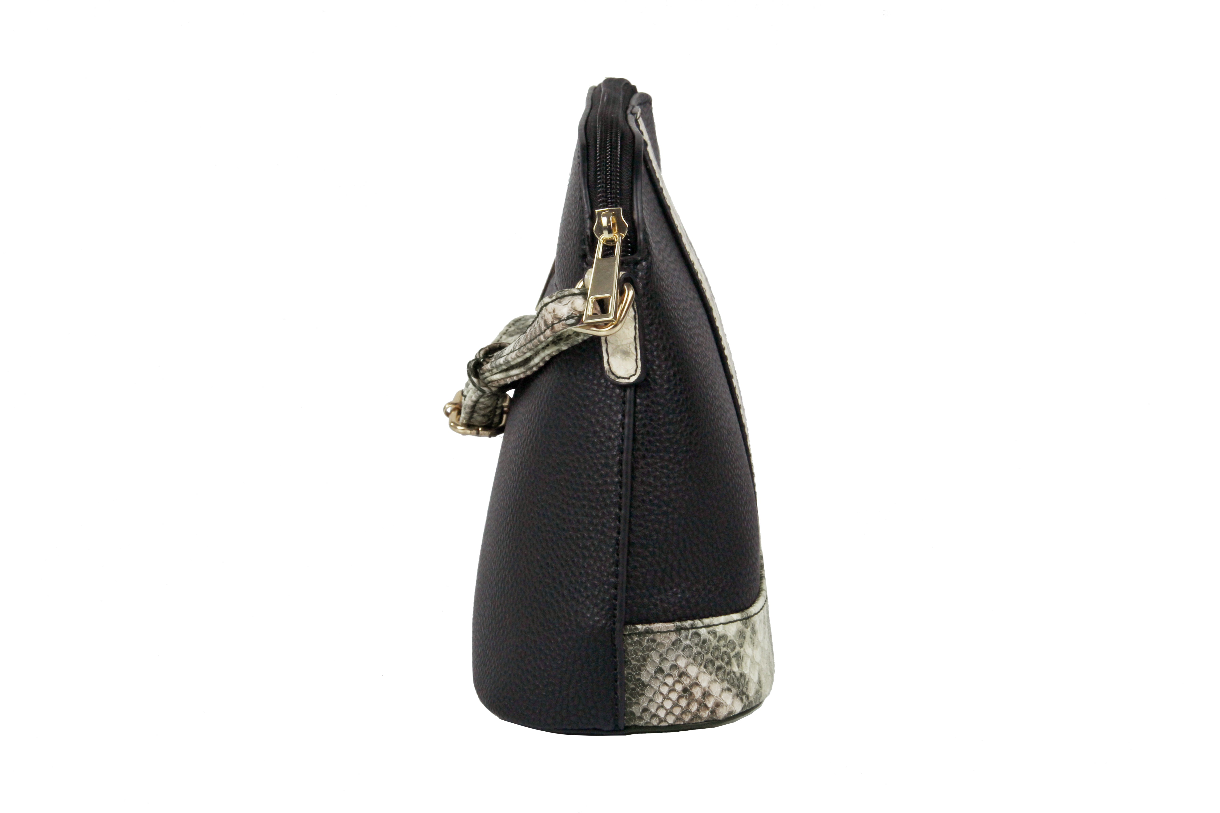 Donna Dome Crossbody with Faux Snake Print Trim
