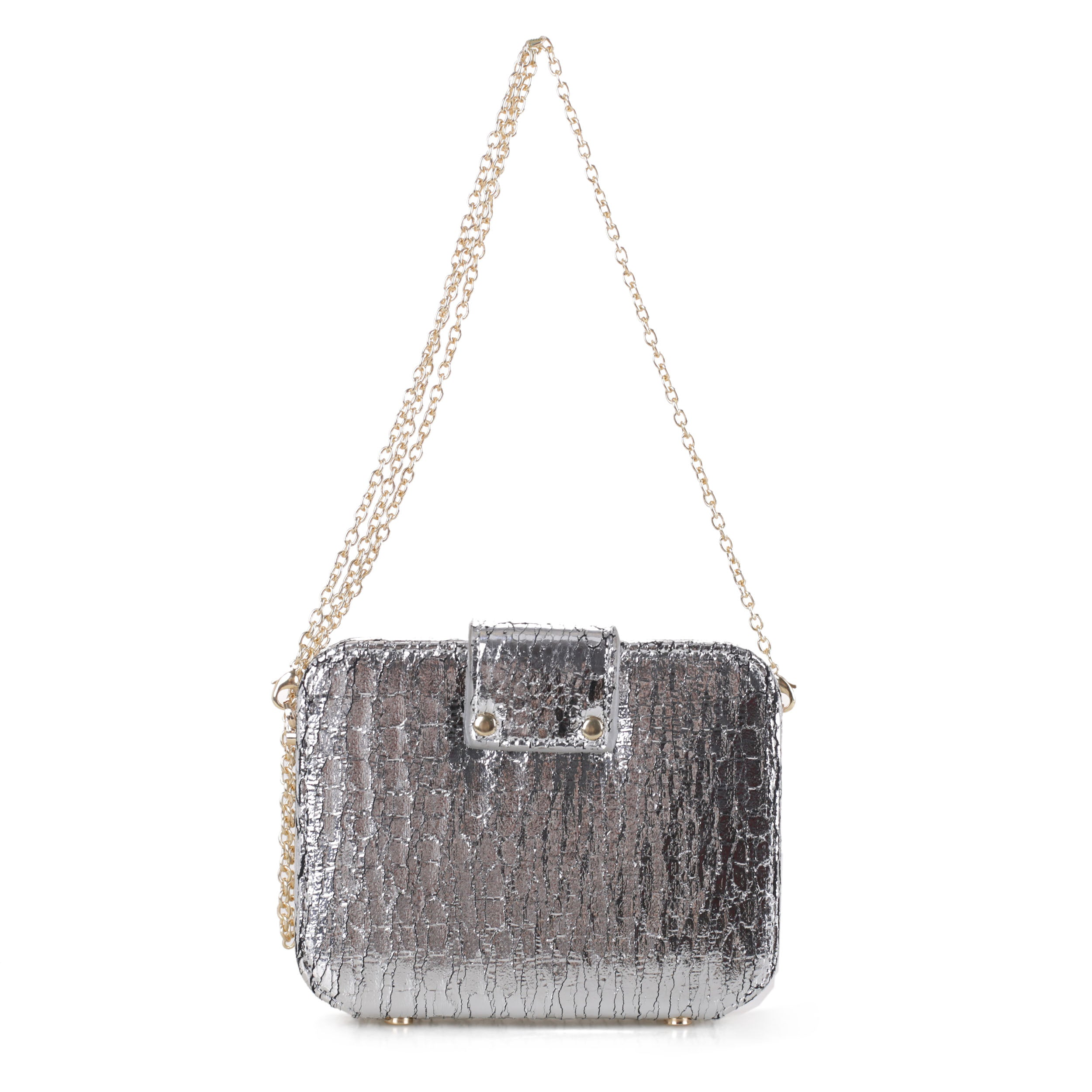 Metallic Foil Crocodile Crossbody