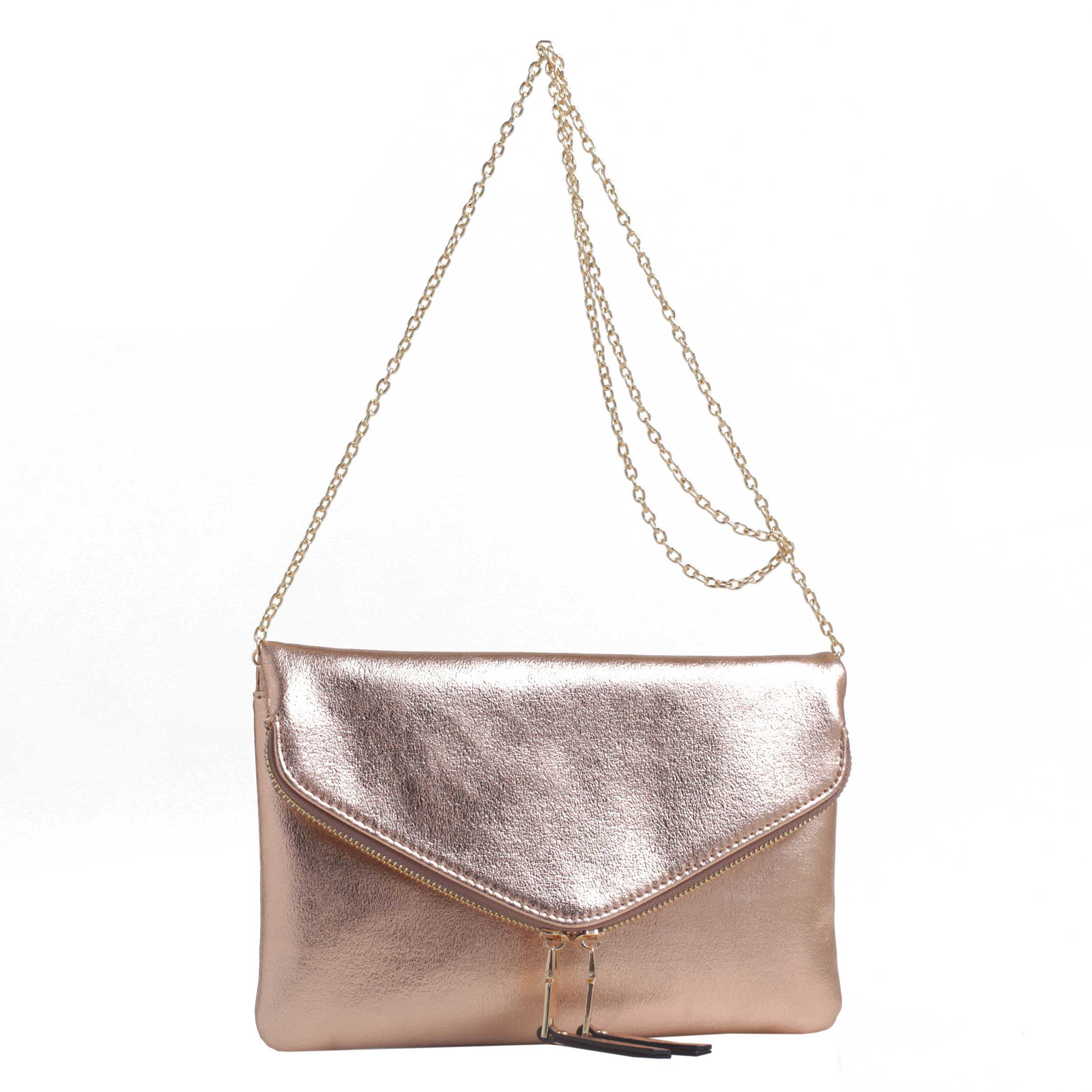 Stellar Metallic Double Zip Clutch