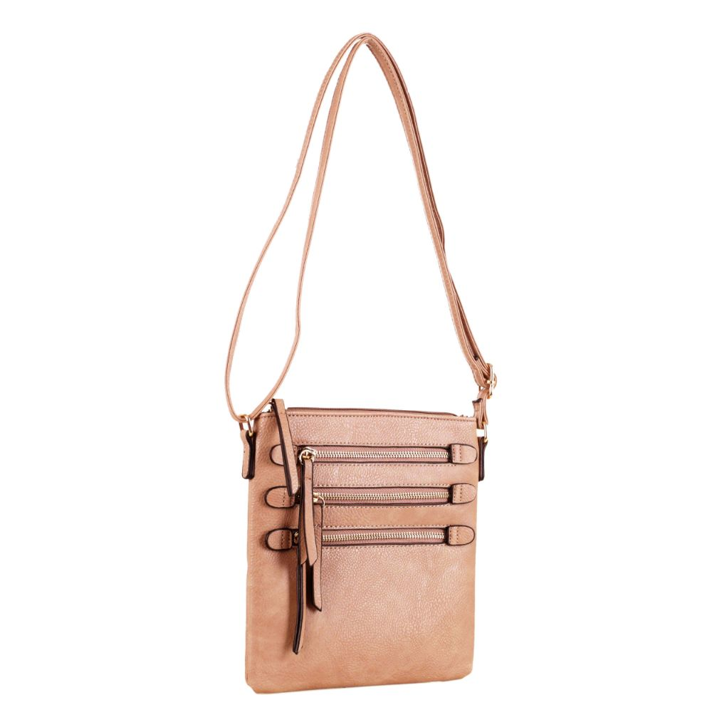 Niki Triple Front Zipper Pockets Crossbody Bag