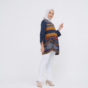 Willow Blouse Tenun Navy Mocca