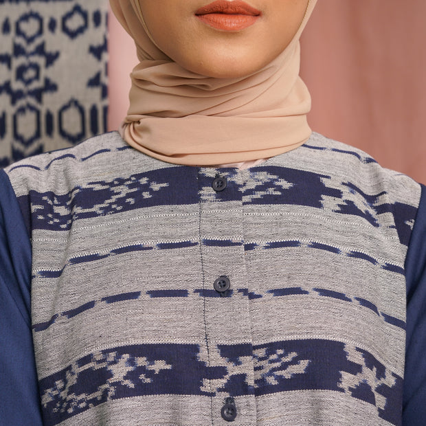 Harshita Top Tenun Navy Abu
