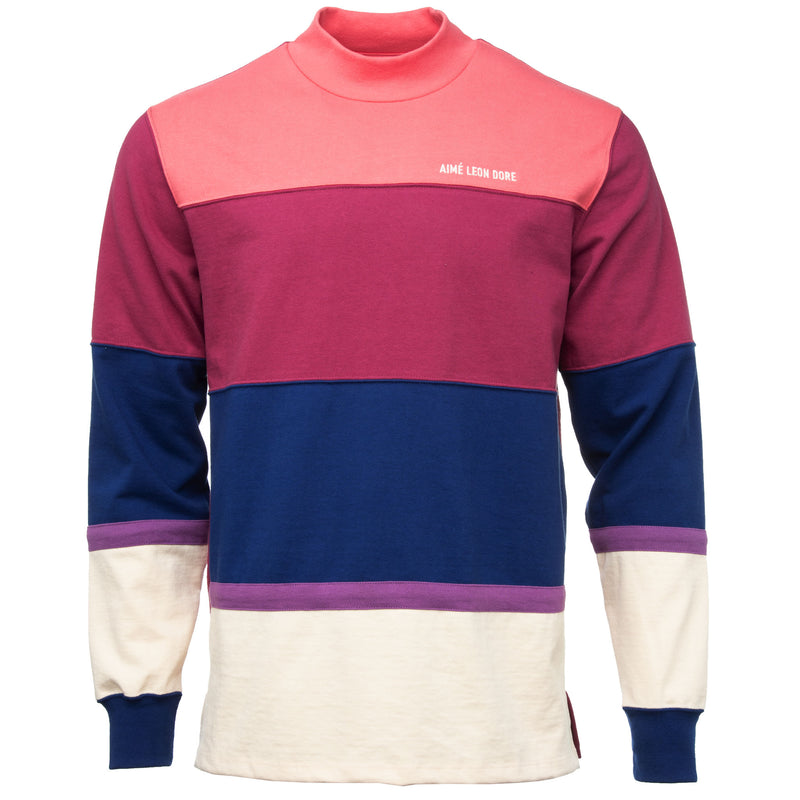 Pink and Purple Striped Mockneck Long Sleeve T-Shirt